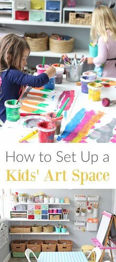 How To Set Up A Kids Art Space That Builds Creative Confidence & Independence Setting up a children's art space, inviting them to use materials independently when inspiration comes up. Tips and ideas. Kids Art Area, Kids Art Space, Kids Room Art, Art For Kids, Kids Art Corner, Art Spaces, Kids Art Station, Art Children, Toddler Art