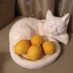 """Cute White Sleeping Kitty Cat Ceramic Bowl Figurine for Fruit Nuts Candy 13"""" L 