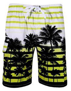 e9a306c011 Men's Colorful Stripe Coconut Tree Beach Shorts Swim Trunks - Green -  CH17WZK8YY7