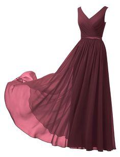 98ecb51a682 Alicepub VNeck Chiffon Bridesmaid Dress Long Party Prom Evening Dress  Sleeveless at Amazon Womens Clothing store