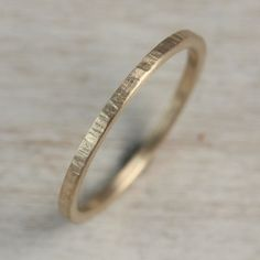 Women's Wood Textured Square Wedding Band - Square Stacking Ring - Delicate Thin Minimalist Ring - Eco-friendly Gold Ring