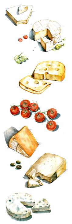 59 Ideas Cheese Illustration Drawing For 2019 Cheese Drawing, Food Drawing, Watercolor Food, Watercolor Illustration, Pinterest Instagram, Food Sketch, Food Painting, Grafik Design, Kitchen Art