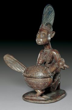 (Kneeling Female with Rooster Offering Bowl), Nigeria