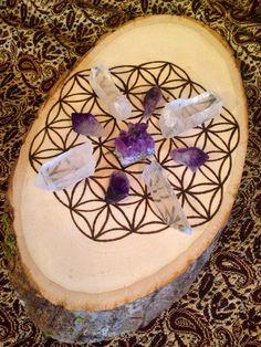Crystal Grid Wood Burned Crystal Grid Flower by crystalsNcreations