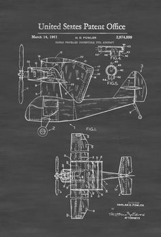 Vertical Takeoff And Landing Aircraft Patent - Airplane Blueprint Airplane Art Pilot Gift  Aircraft Decor Airplane Poster VTOL by PatentsAsPrints