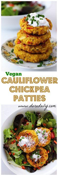So addictive! Cauliflower Chickpea Patties! Veg Recipes, Whole Food Recipes, Vegetarian Recipes, Cooking Recipes, Healthy Recipes, Healthy Food, Freezer Recipes, Sandwich Recipes, Healthy Cooking