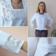 White!!! Crochet Collar, Lace Collar, Crochet Lace, Silk Ribbon Embroidery, Hand Embroidery, Crochet Designs, Crochet Patterns, Filet Crochet Charts, Fashion Sewing