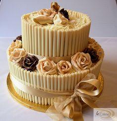Chocolate Wedding Cake With Roses By Lacremepatisserie Via Flickr