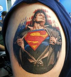 Clark Kent is always ready to spring into action. #InkedMagazine #superman #tattoo #heroes #tattoos #art