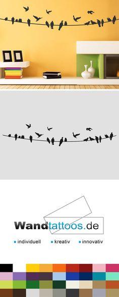 Wandtattoo Vögel auf Stromleitung als Idee zur individuellen Wandgestaltung. Einfach Lieblingsfarbe und Größe auswählen. Weitere kreative Anregungen von Wandtattoos.de hier entdecken!