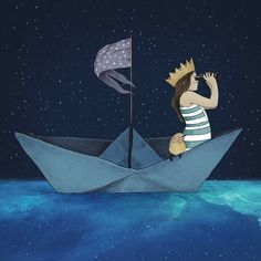 Little Girl Is Sailing In A Paper Boat - Art Print / Wall Décor / Nursery Décor