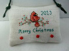 2013 Cross Stitched Cardinal Christmas Ornament by luvinstitchin4u, $12.99