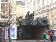 Vilnius - Three ghosts above the National theatre