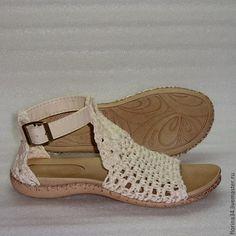 Обувь ручной работы. Ярмарка Мастеров - ручная работа. Купить Сандалии  вязаные Beauty, белый, лен, р.37. Handmade.
