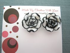 Modern black and white polymer clay post earrings. $8.00, via Etsy.