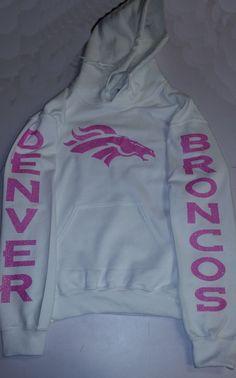 Broncos Glittery Unisex Hoodie , super shinny Light Pink sparkle wont flake Denver Colorado Women will love it!! S-5XL sizes