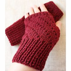 Winter Accessories - Knit Fingerless Gloves / Mitts - Merino Wool, Alpaca, Silk - Wine Color - Office Fashion #agteam