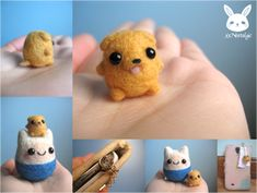 Made this as a birthday present for a friend ♥ She loves Adventure Time, so I thought it would only make sense for me to make her a phone charm of. Miniature Felted Jake the Dog Phone Charm Needle Felted Animals, Felt Animals, Cute Crafts, Felt Crafts, Diy Crafts, Wet Felting, Needle Felting, Adventure Time Crafts, Felt Turtle