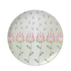 Pink and Green Flowers and Seeds Plate Green Flowers, Pink And Green, Den, Create Your Own, Decorative Plates, Seeds, Cool Stuff, Tableware, Floral