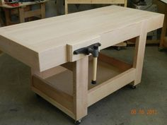 Woodworking How To design-of-workbench-top-with-mitered-skirt-rails - The article continues with a series of 10 instruction steps detailing how to build the workbench components, in order to complete the overall design. Building A Workbench, Workbench Top, Workbench Plans, Woodworking Bench Plans, Woodworking Workshop, Woodworking Projects Diy, Woodworking Furniture, Woodworking Magazine, Workbench Designs