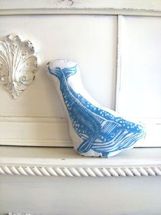 Plush Whale Pillow in Blue. Woodblock Printed. Customizable Colors. Made to Order.. $15.50, via Etsy.