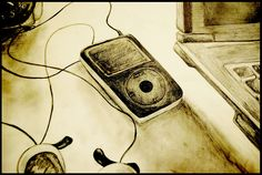 #apple #ipod #sepia #drawing #pencil #throwback #vintage