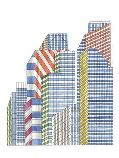 Urban Illustrations by Nigel Peake – Design & Trend Report Line Illustration, Illustrations, Photomontage, House Doodle, Architecture Drawings, Arte Popular, Love Drawings, Built Environment, Sculptures