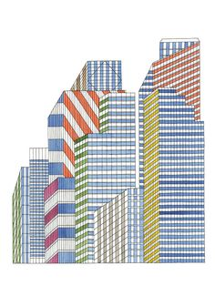 Nigel Peake Buildings separated via angles and colours