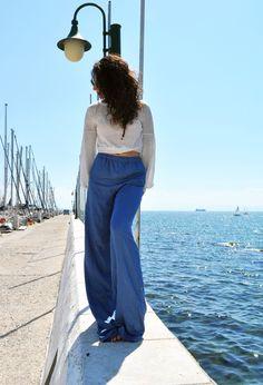 wide leg pants, summer pants, loose pants, viscose pants, blue pants, sweat pants, high waist pants, jean like fabric by LeMoutonBleuShop on Etsy