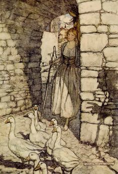 pagewoman:  The Goose Girl by Arthur Rackham (Grimm's Fairy Tales)