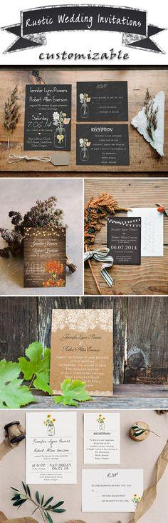 2016 trending rustic wedding invitations WITH FREE RSVP CADRS-@elegantwinvites