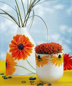 Pictura pe sticla si portelan - model 1 Planter Pots, Creative, Plant Pots