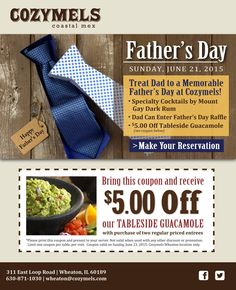 Treat your dad at Cozymels and get $5 off their Tableside Guacamole! #KentsDeals