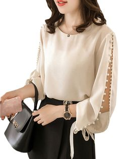 Buy Women's Blouse Long Sleeve O Neck Solid Color Beading Loose Plus Size Top Blouses - at Jolly Chic Latest Summer Fashion, Womens Fashion For Work, Trendy Fashion, Summer Fashion Trends, Stylish Dresses, Stylish Outfits, Fashion Outfits, Look Office, Mode Glamour