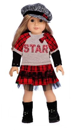Doll Clothes Fits American Girl Dolls Red White /& Blue with Stars Dress /& Hat Dori/'s Boutique