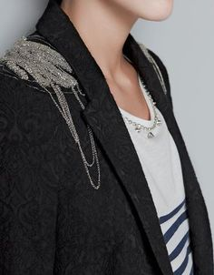 Jacquard Blazer With Chains On Shoulder