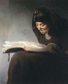 """""""Rembrandt's Mother Reading,"""" by Rembrandt van Rijn, 1629."""