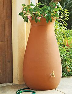 Rainwater Urn, 65 Gallon; Sits in front of gutter drain but looks like a flower pot, hose hooks up to the bottom. $179; www.gardeners.com