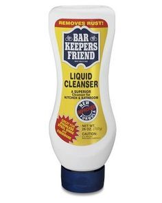 Liquid Bar Keepers Friend -  plate scratch remover, stainless steel sinks, spots on my counter, maintain the all-white sink and counters, white electric stovetop, white porcelain sink, a ton of things in the bath/kitchen area, Ceramic Sinks as well and Copper Pots, I use Barkeepers friend for everything. There is also a powdered version of Bar Keepers Friend.