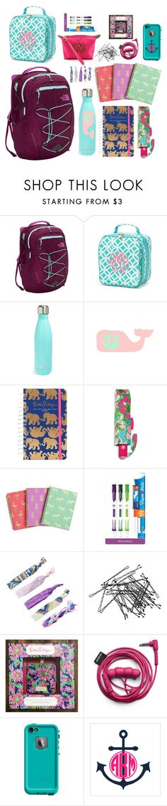 """""""Dream backpack and supplies"""" by pineappleprincess1012 ❤ liked on Polyvore featuring The North Face, S'well, Lilly Pulitzer, Paper Mate, H&M, LifeProof and Champion"""
