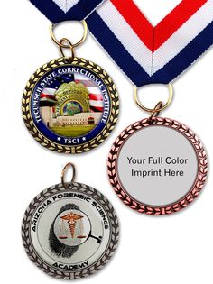 Die-cast wreath border on two sides Choice of antique brass, antique silver or antique copper finish Includes full color image with epoxy dome on both sides Medal size: 1-3/4″. Image size 1-7/16″. Optional red, white and blue ribbon attachment available