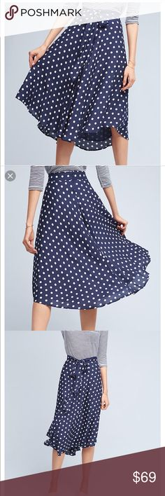 🆕Anthropologie polkdot skirt New navy skirt with white Polkdot  Enlivened with polka dots, this fit-and-flare skirt by Porridge is perfectly ladylike. Offset with a curved hemline and self-tie belt. Cotton lining Anthropologie Skirts Midi