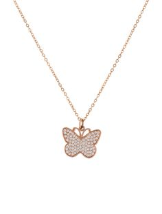 14K rose gold chain-link necklace with butterfly pendant featuring pavé round brilliant diamonds and spring ring clasp closure.