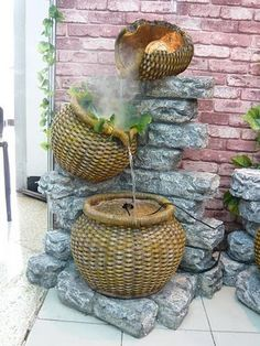There are a few different design styles available to you when it comes to garden water fountains, so a bit of thought and time is necessary before making a final decision as to which piece or pieces will grace your own personal outdoors.  You will find garden water fountains you can hang on the exterior of your home, free standing stone and fiberglass fountains, rock style waterfall outdoor fountains and birdbath styles. Seen here is an adorable wall fountain.