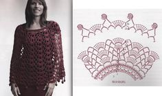 Stoles and ponchos: models and grids to print! - Hook Passion. Poncho e scialli con schema. Spagnolo.