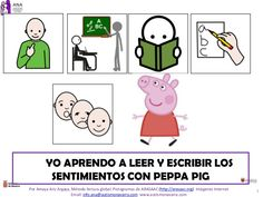 1 YO APRENDO A LEER Y ESCRIBIR LOS SENTIMIENTOS CON PEPPA PIG Por Amaya Ariz Argaya, Método lectura global. Pictogramas de ARASAAC (http://arasaac.org) Imágene…