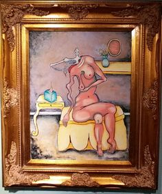 Original oil painting framed surreal nude by TrulyOriginalArt