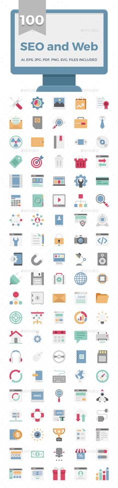 100 SEO and Web Vector Color Icons Pack