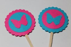 Hot Pink and Turquoise Buttefly Cupcake Toppers by ThePaperOwl13,