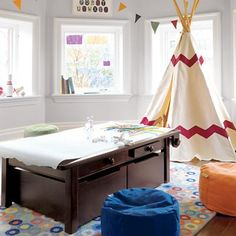 tee pee and art table
